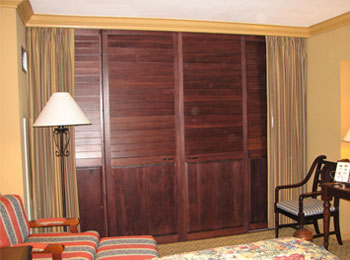 Stained Sliding Shutters - Closed