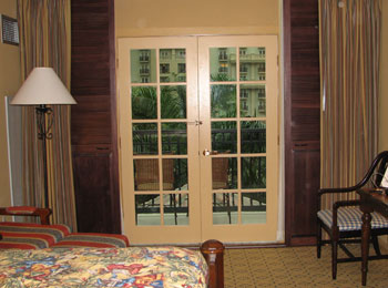 Stained Sliding Shutters - Open