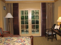 Sliding Stained Shutters Open